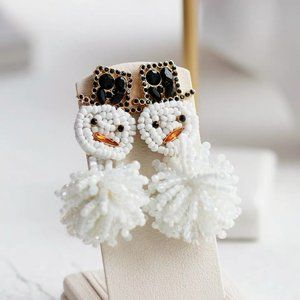 Anthropologie BaubleBar Beaded Snowmen Earrings